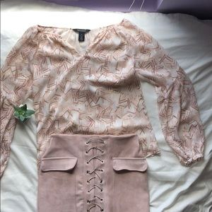 WHBM business casual long sleeve sheer blouse
